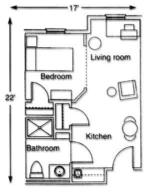17 best images about studio floor plan on pinterest for Small studio apartment floor plans
