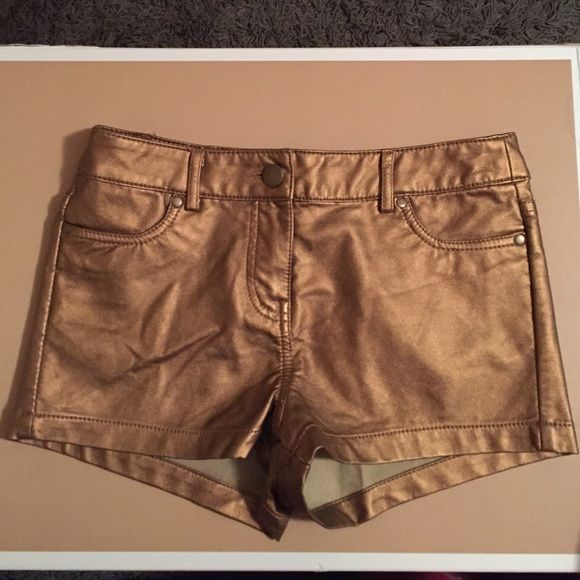 Gold shorts! Forever 21 faux leather gold shorts! Great for a statement outfit! Forever 21 Shorts