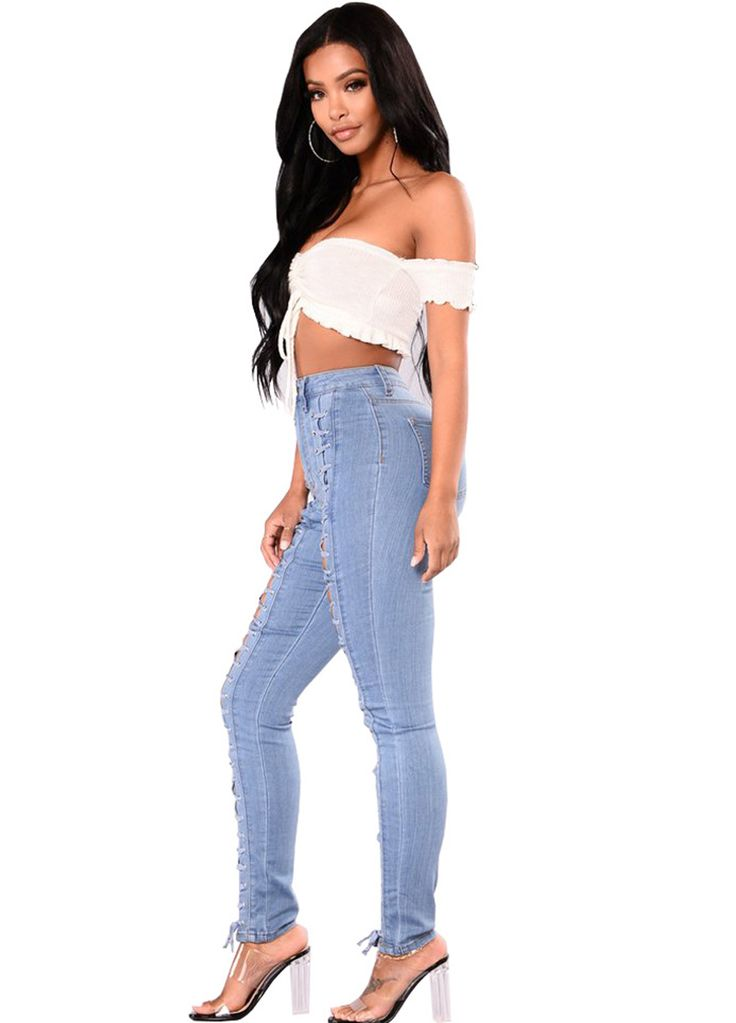 Lace-Up Front High Waist Sculpt Skinny Jeans_Butt Lifting Skinny Jeans_Women Jeans_Sexy Lingeire | Cheap Plus Size Lingerie At Wholesale Price | Feelovely.com