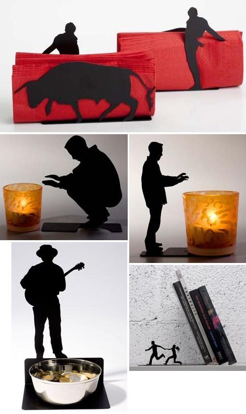 Servilletero, candelabros, despojador y soporte para libros en chapa cortada con láser, plegada y esmaltada.