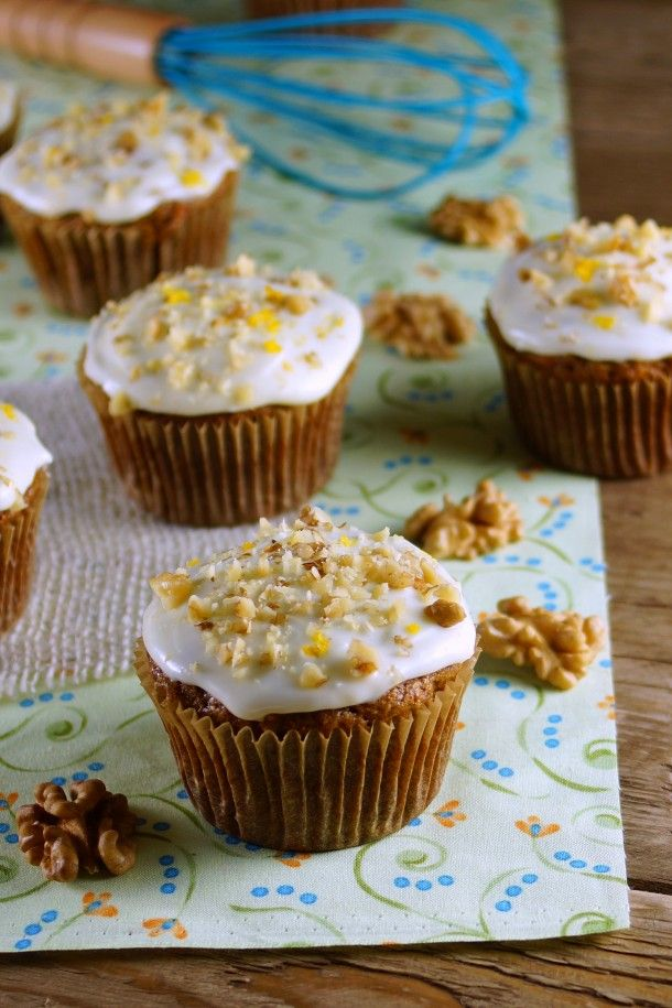 Carrot Cake Muffins with Meyer Lemon Cream Cheese Frosting / Patty's Food @Patty Price / Patty's Food
