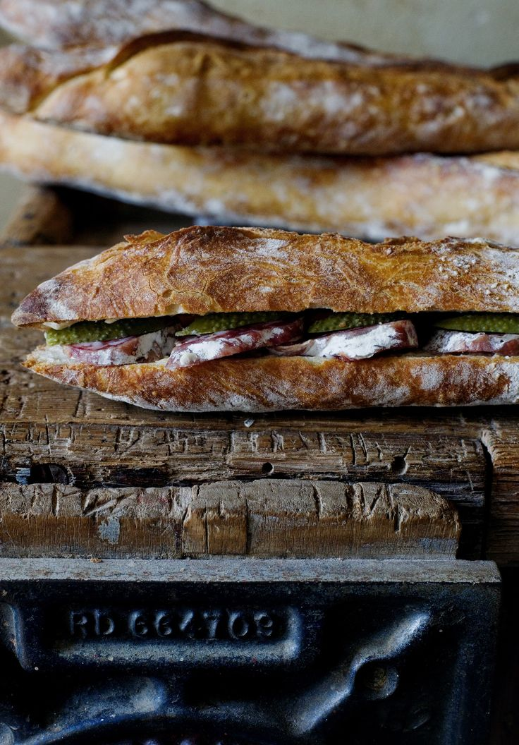"""""""We came back home by lunchtime. I made my favourite sandwich. Baguette, saucissons secs, butter and crunchy pickles. Simplicity at its best."""" -mimi"""