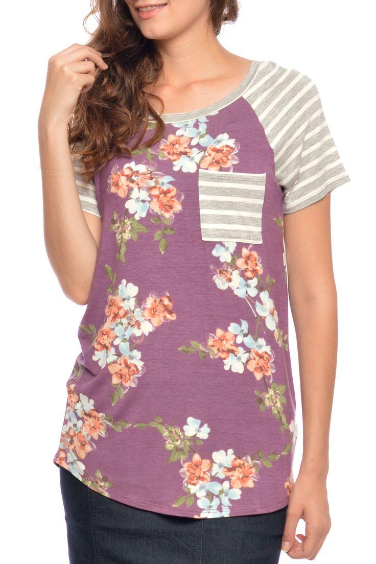 Monroe Floral & Stripe Top