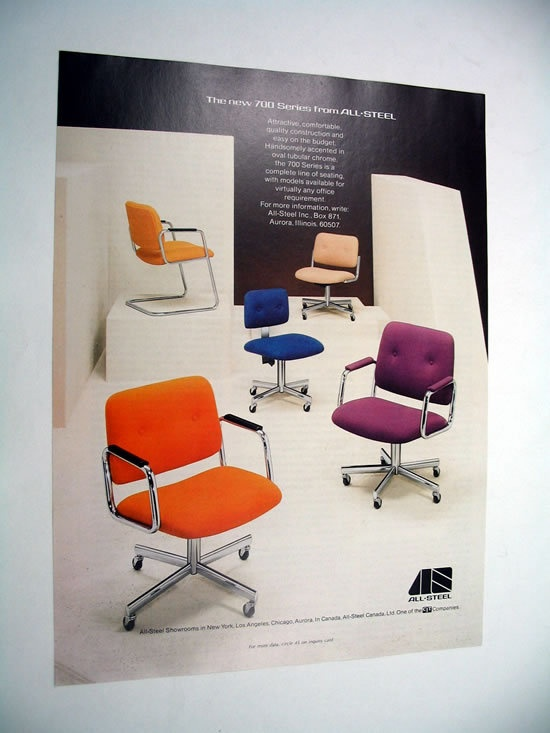All Steel 700 Series Office Chairs Seating 1977 Ad