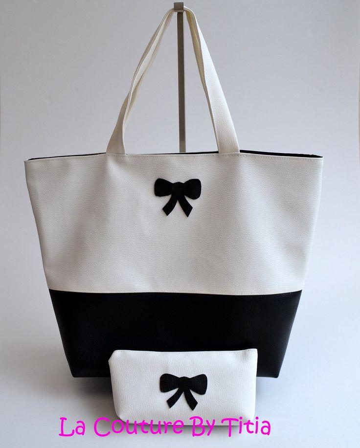 Sac Cabas et Pochette Simili Cuir Fait Main Noeud Noir et Blanc Mode femme @lacouturebytitia : Sacs à main par la-couture-by-titia