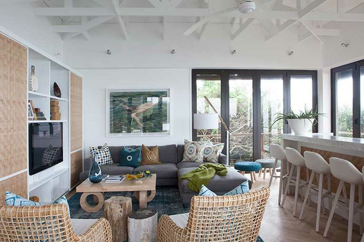 Michele Throssell Interiors > Beach house > Laid back, casual, comfortable textured interiors > Interior design > bar tv lounge