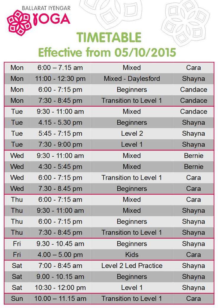 Timetable update #ballaratyoga