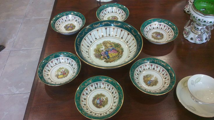 Vintage Limoge porcelain set with a wonderfull green color