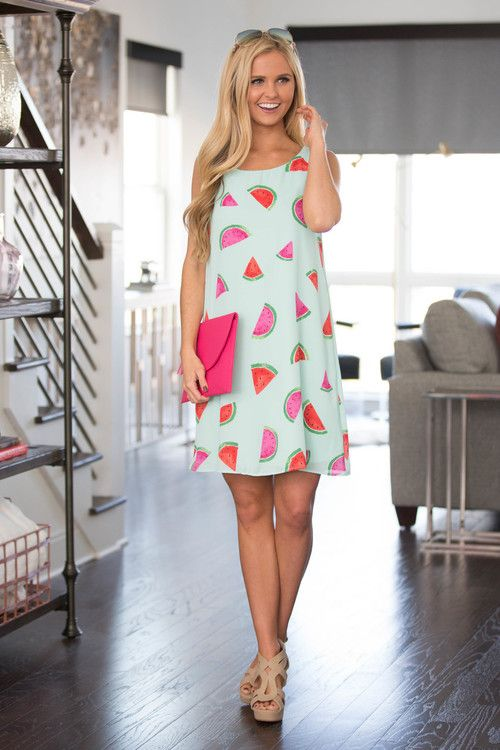 A Slice Of Watermelon Shift Dress - The Pink Lily