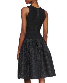 T7V0L Carmen Marc Valvo Sleeveless Dot Textured Skirt Cocktail Dress, Black