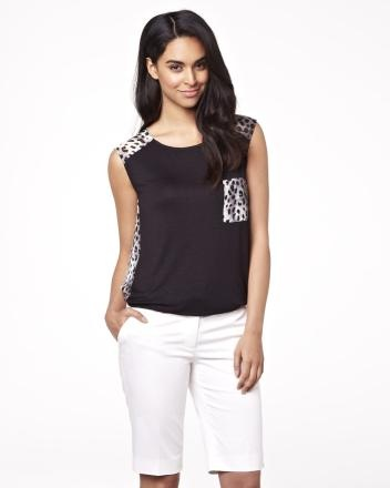 Leopard voile and knit t-shirt in black and white Summer 2013 Collection