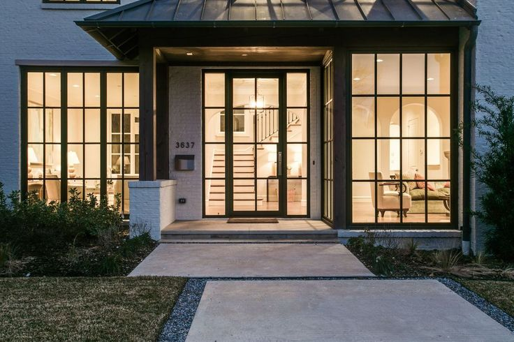 Transitional Front Door with Pathway, exterior stone floors