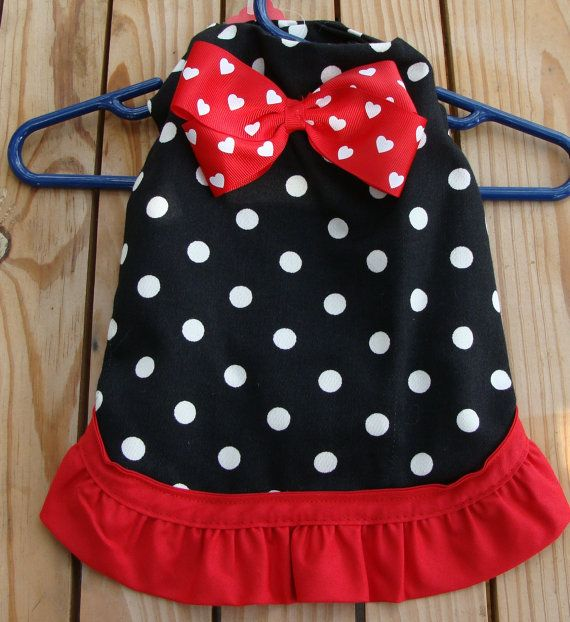 Black and White Red Hearts Polka Dot Dog Dress by dables on Etsy, $20.00