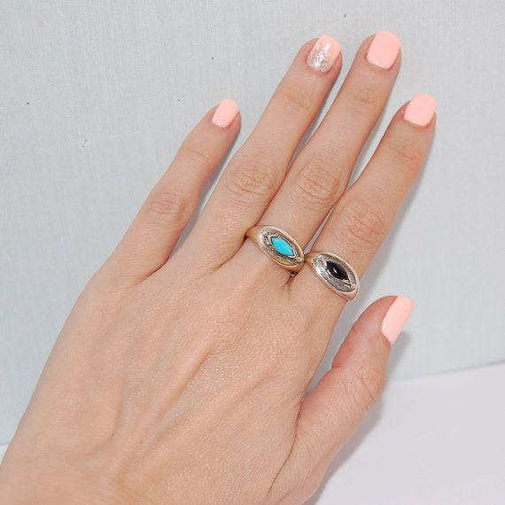 Oval rings December birthstone turquoise Silver rings by kreitto