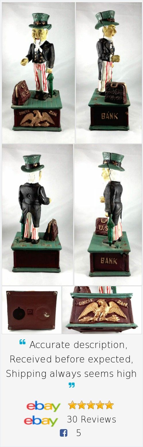 Uncle Sam Cast Iron Coin Bank