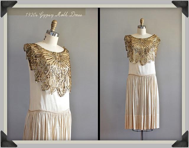 amazing 1920s silk dress with mesh & sequin collar