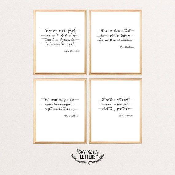 Ensemble de quatre gravures de citation de Dumbledore :  • Bonheur peuvent être trouvés dans les plus sombres de fois • Nous devons tous faire face au choix • Cest nos choix qui nous définit vraiment • Il nimporte pas ce que quelquun est né  Toutes les citations sont de Harry Potter, écrit en police belle calligraphie.  ● Cest un téléchargement numérique instantané ● Résolution : 300 DPI ● Dimensions: 8 x 10 pouces ● Format de fichier : Jpeg  Pdf disponible sur demande sans frais…