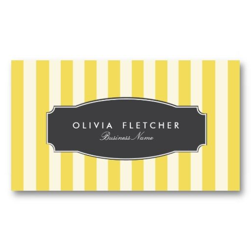 Chic Yellow Stripes Business Cards // by Origami Prints #striped #yellow #black #and #card #designs #design #pattern