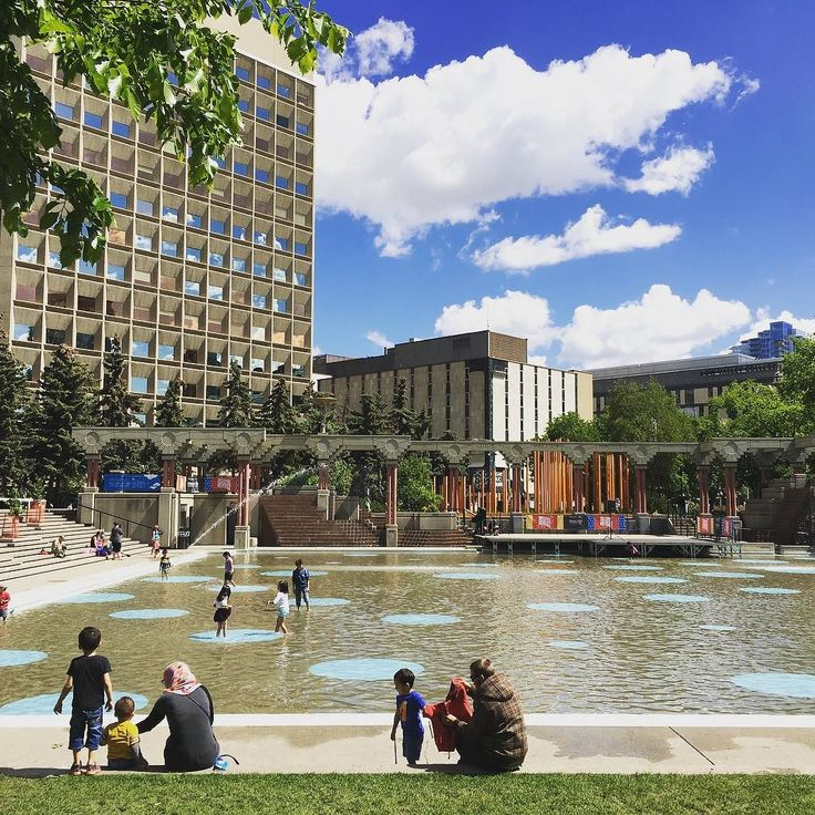 Calgary's Olympic Plaza is alive with the sights and sounds of happy childhoods during the final day of the @yyckidsfest! #calgary #kids #festivals #yyc #publicspaces