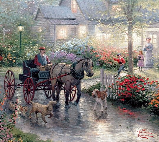 love Thomas Kinkade wish it was a real place to live that looked like that. I agree. he was awesome. and I enjoy all his things also. I would love to get one of his paintings for real.