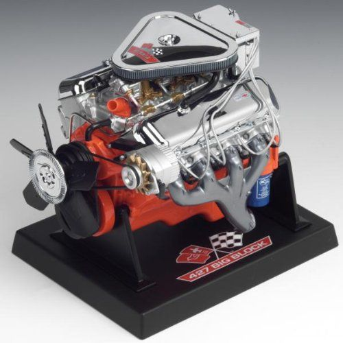 Liberty Classics Chevy L89 Tri-Power Engine Replica, 1/6th Scale Die Cast  Die cast engine replica  Die Cast Engine Block with plastic injected, resin and wire accessories  Starter motor gear drives the flywheel gear which turns the crankshaft, pulleys, pulley belts, fan and alternator  Plated air cleaner is removable to reveal three highly detailed Holley carburetors, fuel lines and hoses  Officially licensed