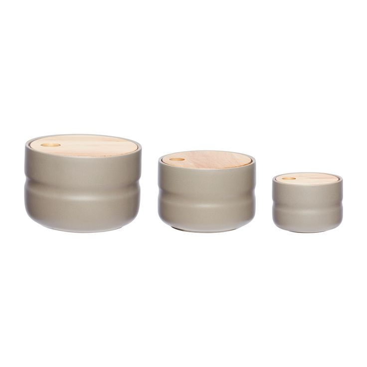 Ceramic jars with wood lids. Product number: 860307 - Designed by Hübsch
