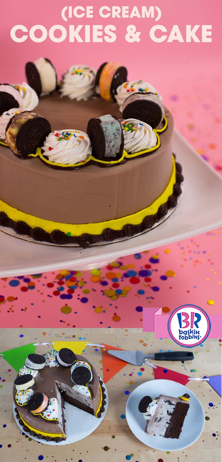 Mix Things Up At Your Celebration With An Oreo Ice Cream Cookie Sandwich Cake It S Topped One Of A Kind Baskin Robbins