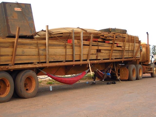 Check out this trucker's little napping hammock. I saw this timber truck while I was in Anarika, Guyana.
