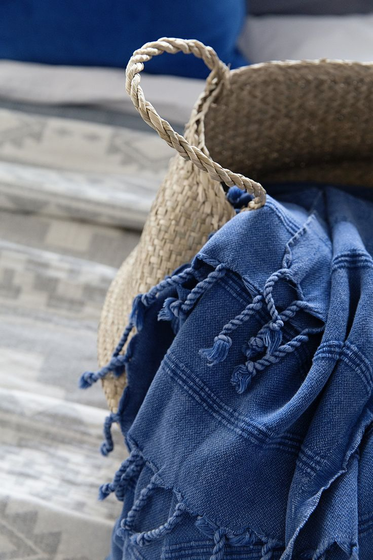Up close with our new Stonewash Turkish Towel/Throw in Cobalt Blue available online now at www.knotty.com.au