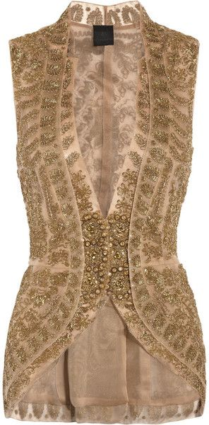 Vera Wang Gold Embroidered SilkMesh and Organza Jacket