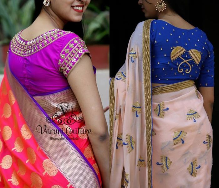 Looking party wear saree blouse designs