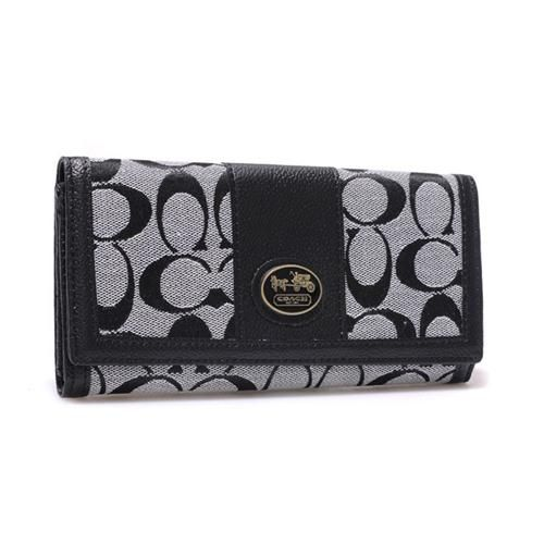Discount Coach Legacy Slim Envelope in Signature Large Grey Wallets BLK Clearance