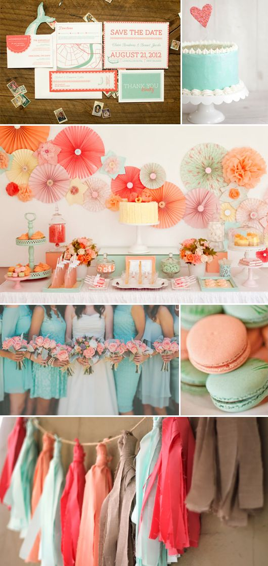 Färgpalett - A wonderful #wedding palette of coral and mint: perfect colour combination for a spring/summer wedding