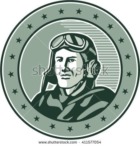 Illustration of a vintage world war one pilot airman aviator bust smiling set inside circle with stars done in retro style.   #airman #veteran #retro #illustration