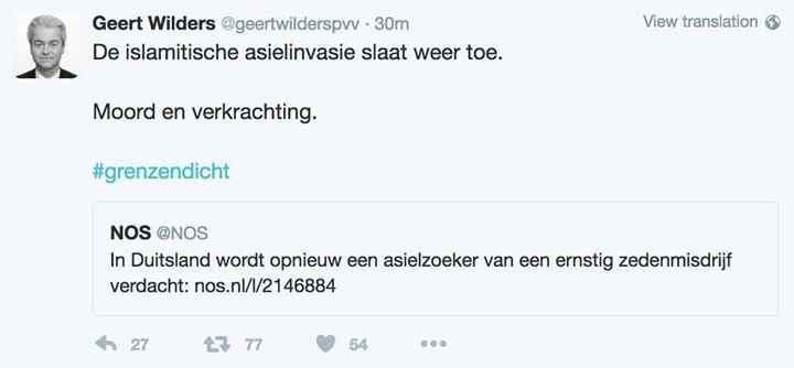 Wilders de ubernazi slaat weer toe  Na een jaar oud AZC vechtpartijfilmpje nu weer een vergelijking waar Goebbels trots op zou zijn. Dit is precies zoals de joden door de nazi's tot zondebok werden gemaakt. Dit is op zijn twitteraccount in het openbaar. Je weet nu wat je krijgt als je PVV stemt of op een partij die met hen wil regeren. Haat en net zoals bij Trump alles kwijt wat betreft sociaal vangnet en meer betalen voor diensten die de vriendjes van Wilders leveren. Straks niet zeggen dat…