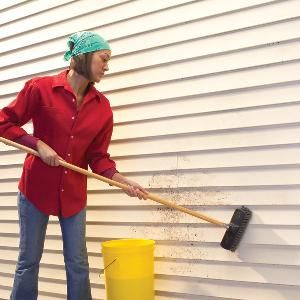 Techniques for cleaning tough-to-remove stains on vinyl siding, trim and gutters