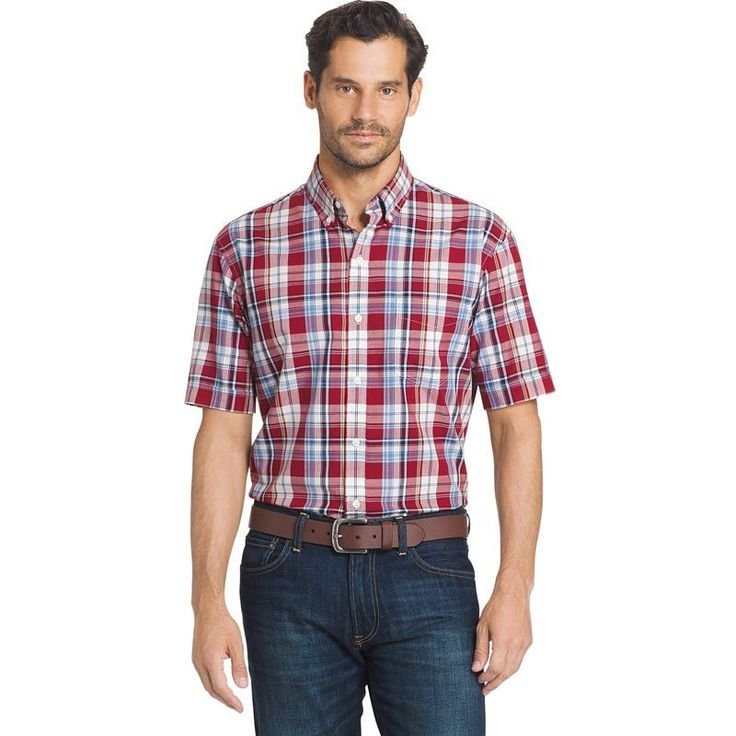Men's Arrow Marina Beach Classic-Fit Plaid Button-Down Shirt, Size: Medium, Red Other