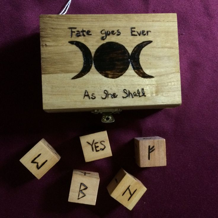 Triple Moon Rune Box with Elder Futhark Rune Dice  - Also known as Norse or Viking Runes by WyrdWytchWayz on Etsy