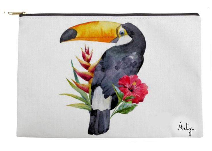 Toucan with Tropical Flowers Tote