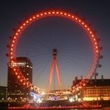 The London Eye went red for Red Nose Day in 2007. www.comicrelief.com