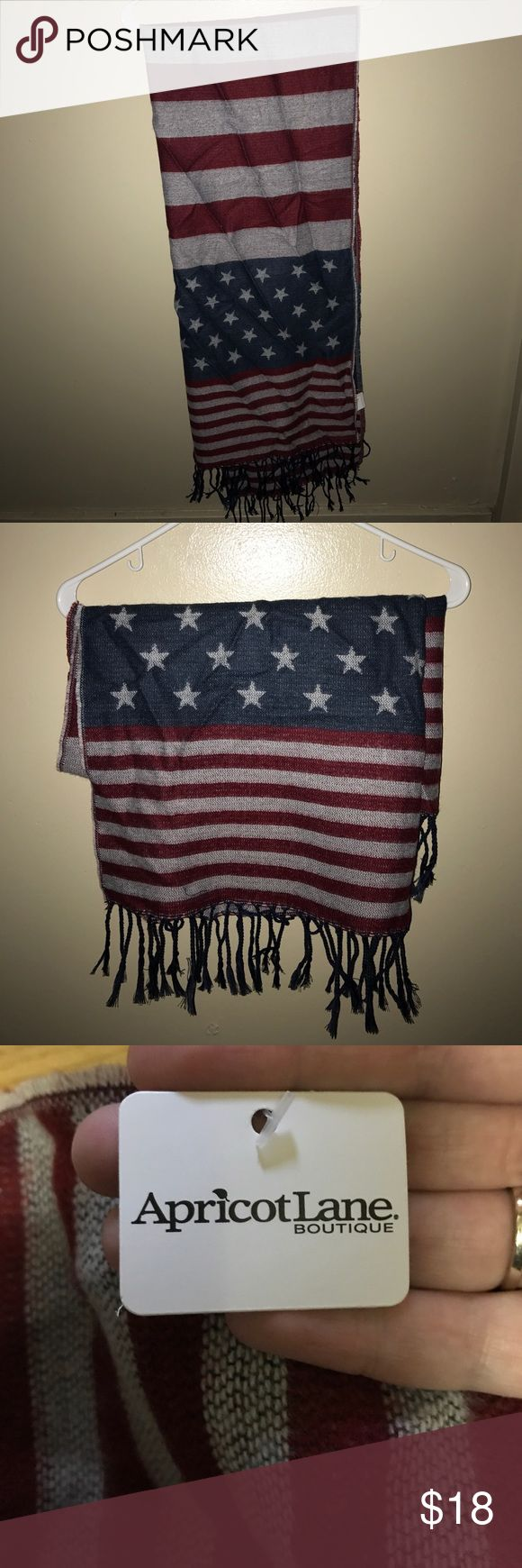 American Flag Scarf!! Fun American Flag Scarf!! Thick material! NEVER WORN! Tags still on!! Apricot Lane Boutique Accessories Scarves & Wraps