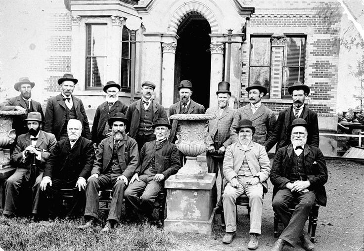 Members of the Horsham Water Trust in front of the Water Trust Building, c1895.