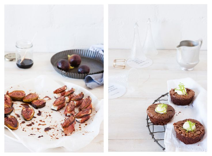 the wild rabbit's: prosciutto wrapped gorgonzola & balsamic roasted figs       -       flourless lime & chocolate cakes with margarita cream - photos by nikki to