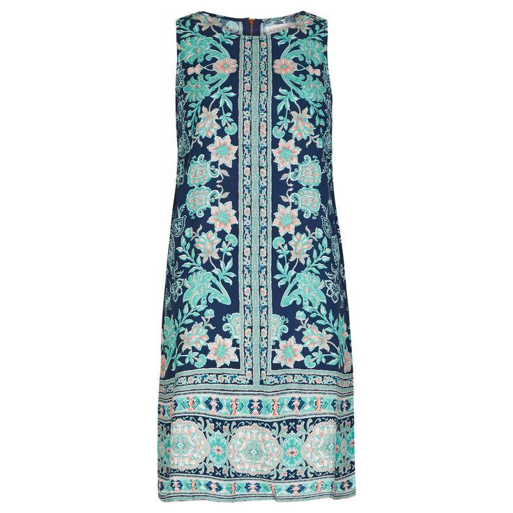Navy & Aqua Paisley Floral Border Print Shift Dress