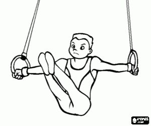 Gymnastics on the rings coloring page