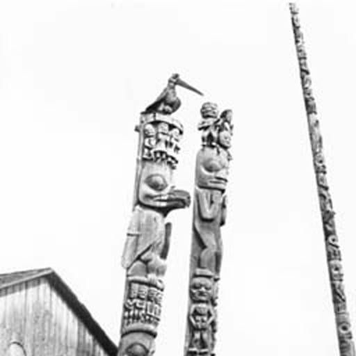 Gitksan totem poles, Kitwancool, British Columbia, 1910 :: American Indians of the Pacific Northwest -- Image Portion