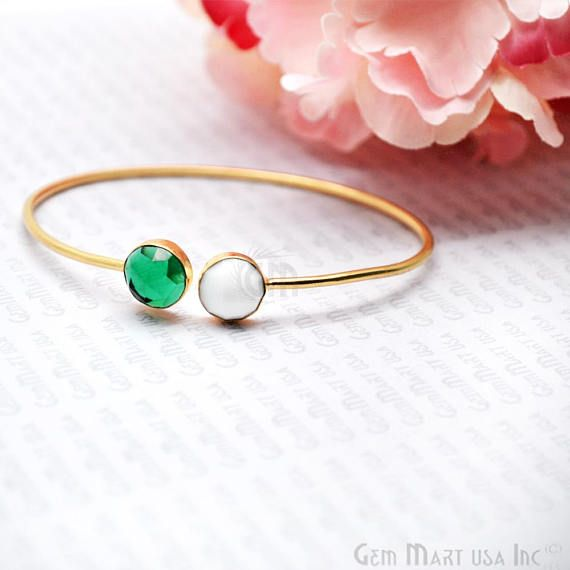 Gold Bangle, Adjustable Bracelet, Bangle Bracelet, Hydro Emerald Bangle, White Agate Bangle, GemMartUSA (DSBA-19167)  Make every handshake count! This dainty gold plated hydro emerald and white agate bangle is adjustable and will look great with all your outfits.  Specifications :- Stone