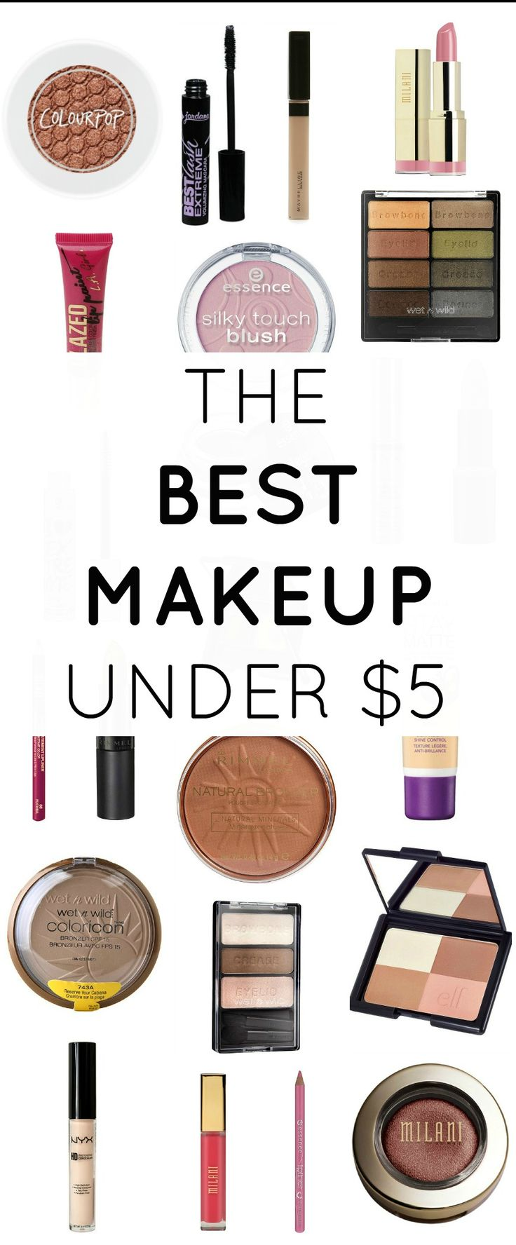 Great makeup doesn't have to cost a fortune. This post shares the BEST drugstore makeup products, and they're all under $5! | by @ashleynicholas at ashleybrookenicholas.com