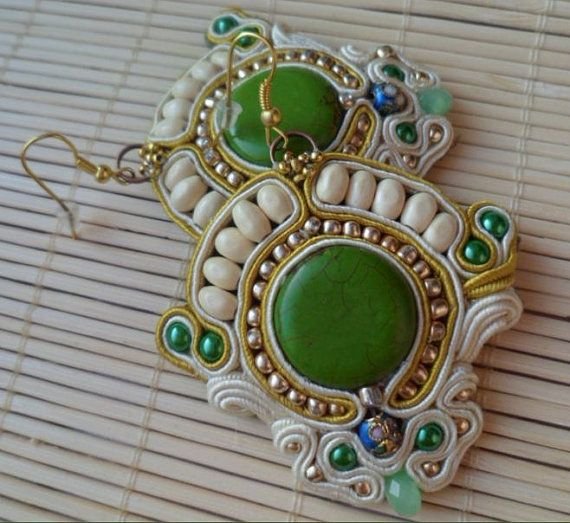 Handmade, soutache earrings. Cream, green, gold, yellow, blue.