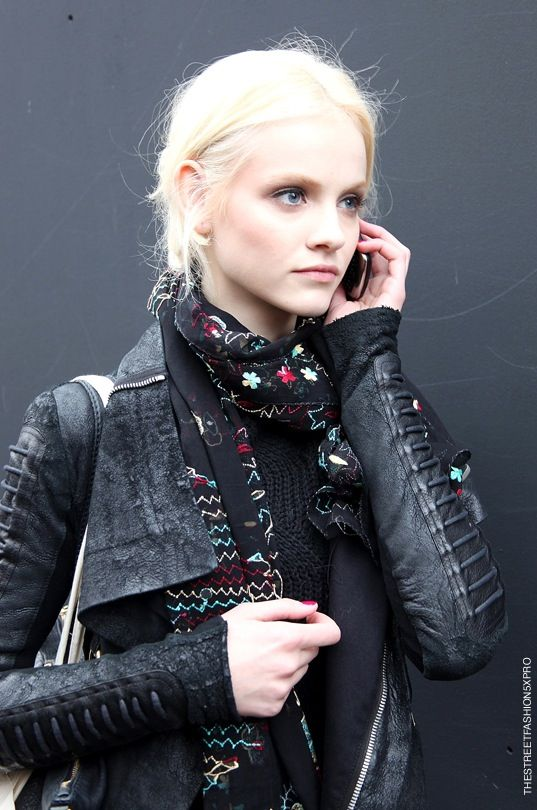 #Ginta Lapina- a pop of #floral scarf in a sea of textured black